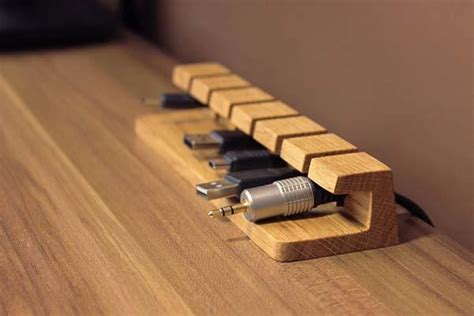 Wood Handmade - the handmade wooden desk cable organizer gadgetsin