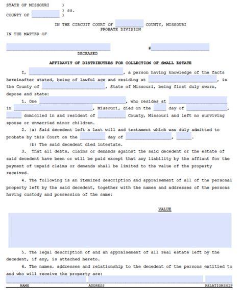 Free Divorce Records Missouri Free Missouri Affidavit Of Heirship Form Pdf Word