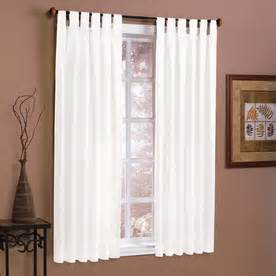 Style selections twill solid 63 in l solid white tab top curtain panel