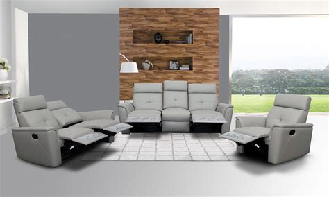 3 Sofa Living Room Grey Leather Living Room Set Peenmedia