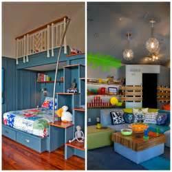 Superbe Amenagement Petite Chambre Ado #3: Amenagement-chambre-enfant-garçon-lit-deux-étages-canapé-coussins-étagères.jpg
