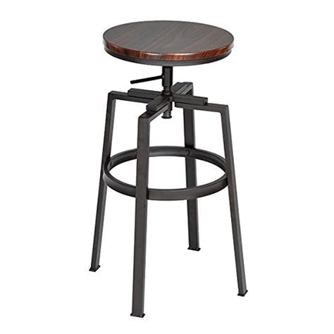 industrial style metal bar stools black and walnut finish industrial style adjustable metal