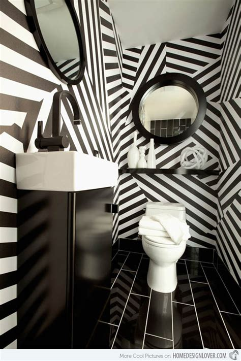 black and white wallpaper for bathrooms black and white wallpaper in 15 bathrooms and powder rooms house decorators collection