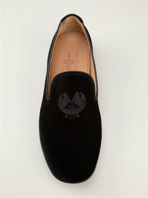 embroidered slippers car shoe crest embroidered slippers in black for lyst