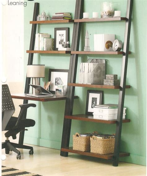 leaning shelf  office perfect small spaces good idea