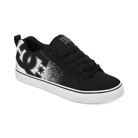 white dc sneakers dc shoes court vulc se sneakers in black for black