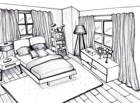 sketch of a bedroom freehand sketching rendering by patricia alvarenga at