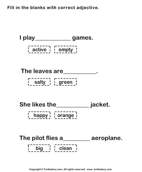 fill in the blanks worksheets fill in the blank with correct adjective worksheet