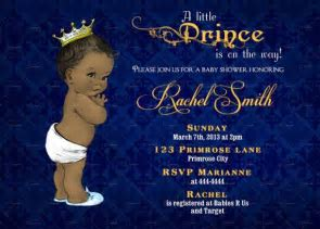 African American Boy Baby Shower Invitation   Royal Baby Boy Shower Invitation   Navy Blue and