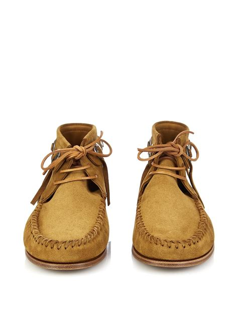 moccasin boots for lyst laurent concho suede moccasin ankle boots in