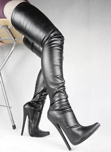 black matt pu pointed toe stiletto boots