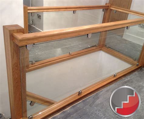 Glass Landing Banister by Glass Staircase Balustrade Oak Handrails Toughened Glass