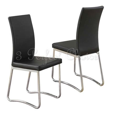 leather dining room chairs with metal legs modern 2 pc black faux leather upholstered dining side
