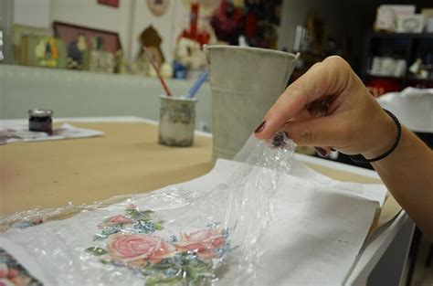 how to decoupage on metal with shading technique