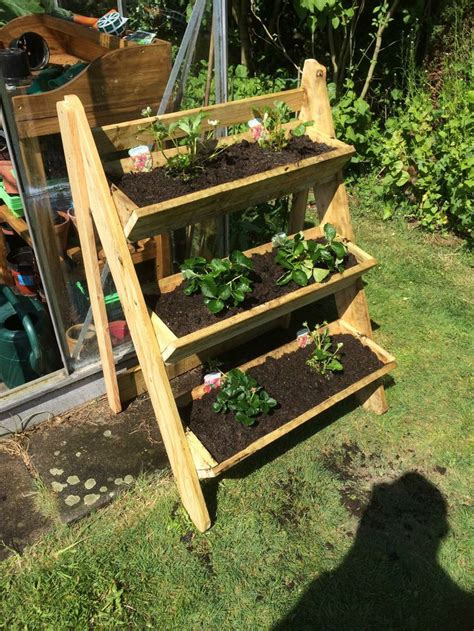 3 Tier Strawberry Planter by Wooden Plant Stand 3 Tier Trough Garden Strawberry Herb