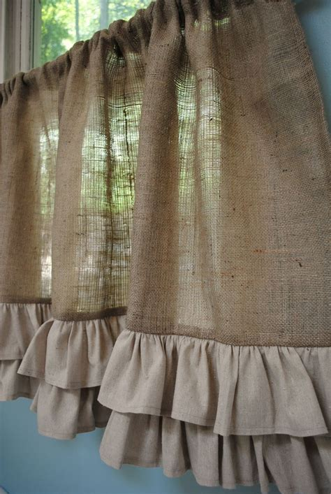 burlap ruffle curtains best 25 burlap kitchen curtains ideas on pinterest
