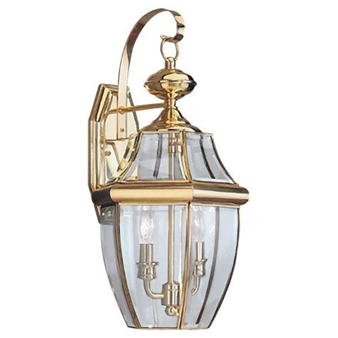 Brass Outdoor Light Fixtures Sea Gull Lighting Lancaster 2 Light Outdoor Polished Brass Wall Fixture 8039 02 The Home Depot
