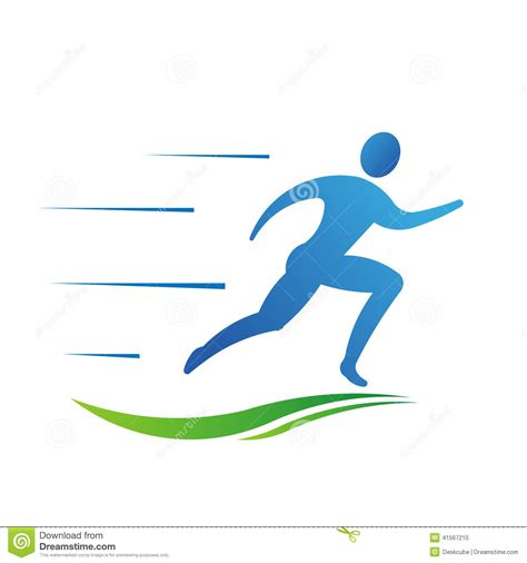 Emblem Logo Running running fast with trail logo stock vector