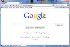 Google website loaded in opera