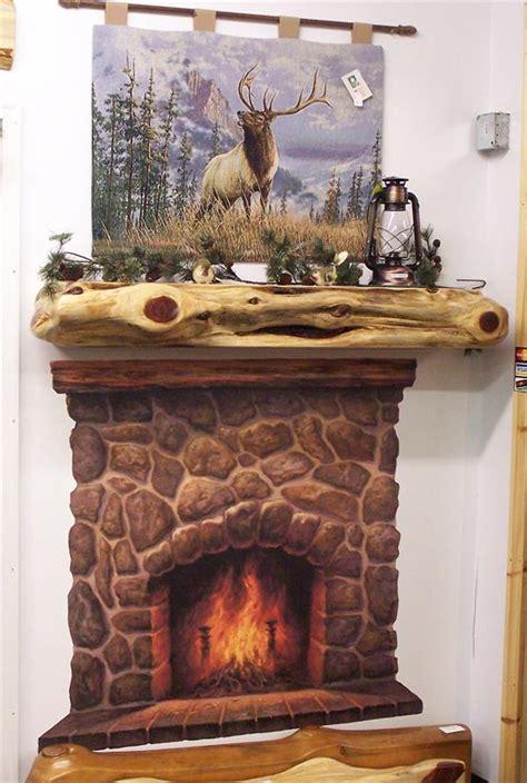 rustic cedar log fireplace