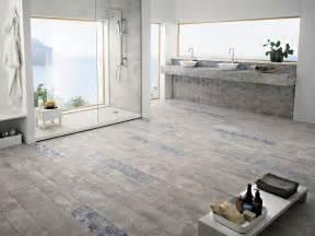 bathroom floor plans room design ideas bathroom floor in concrete look tile with decorative flower motif