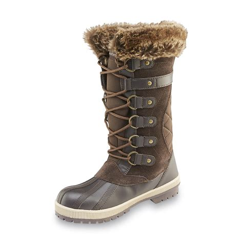 weathermates s denver brown faux fur winter snow boot