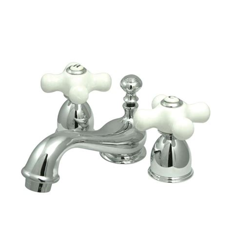 bathroom faucet handles shop kingston brass vintage chrome 2 handle 4 in mini widespread bathroom sink faucet at lowes