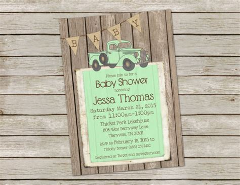 Rustic Themed Baby Shower Invitations by Rustic Baby Boy Shower Invitation Invite Digital File