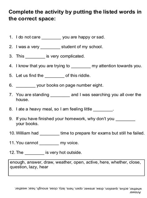fill in the blanks worksheets 16 best images of fill in blank worksheets fill in the