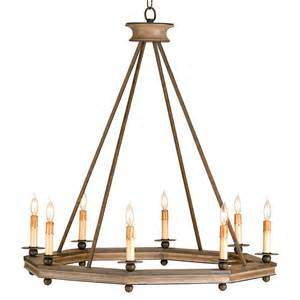 Rustic Chandelier Bonfire Simple Open Octagonal Ring Rustic 8 Light