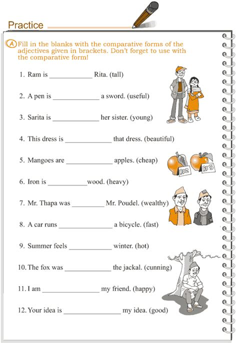 adjective patterns english exercises grade 3 grammar lesson 5 adjectives comparison english