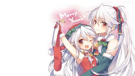 girls bell bow christmas gloves hat hug loli long hair mishima kurone original ponytail red