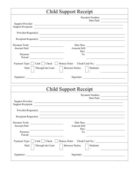 child support receipt template 15 receipt templates free premium templates