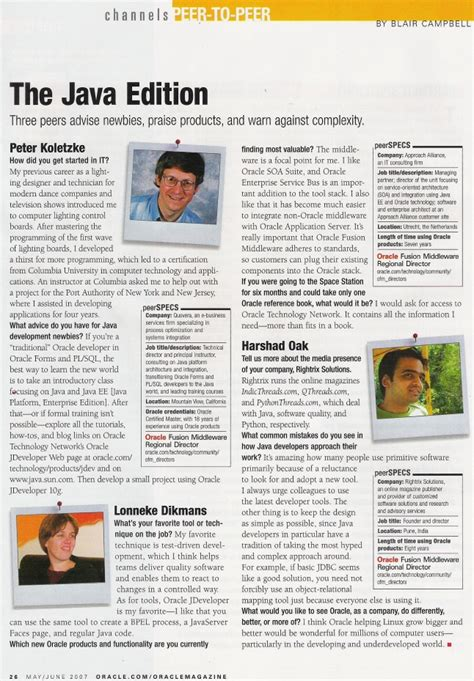 Interview In Oracle Magazine Peer To Peer Section