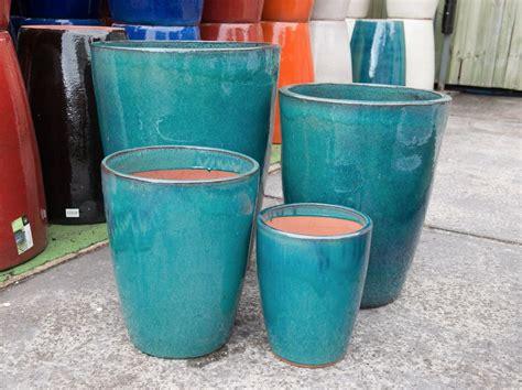 garden pots outdoor garden patio pot glazed tall round crucible