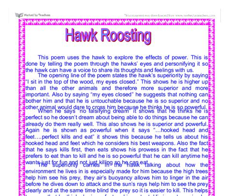 The Thought Fox Analysis Essay by Hawk Roosting Essay Free