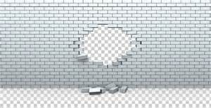 Whole in white brick wall transparent hole background png
