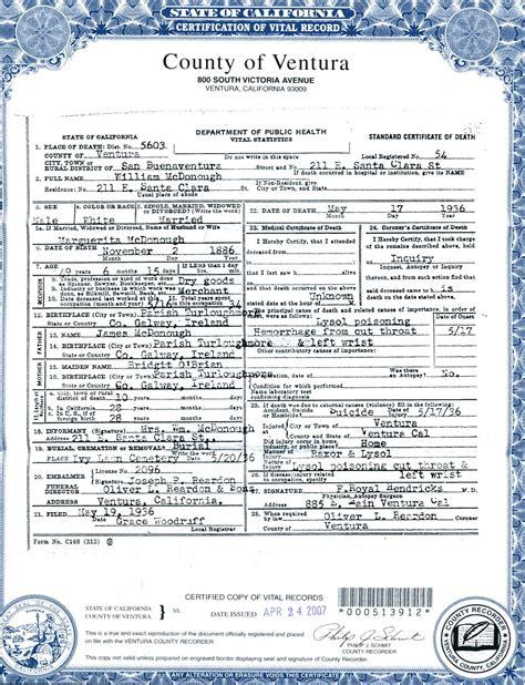 Ventura County Records Birth Certificate Birth Certificate California Ventura County Choice Image Certificate Design And Template