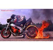 Fast Cool Cars Motorcycle With Flaming Rear Tire Burnouts