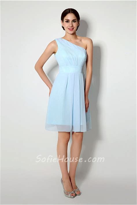 Short Light Blue Dress by A Line One Shoulder Short Light Blue Chiffon Bridesmaid