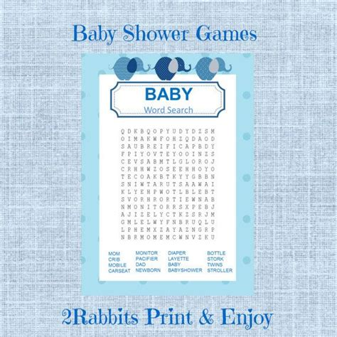 Baby Shower Crossword by Elephant Boy Baby Shower Word Search Baby Shower
