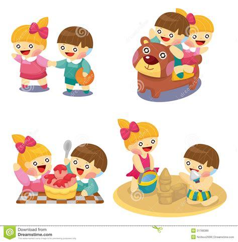 clipart bimbi bambini fumetto che giocano insieme illustrazione