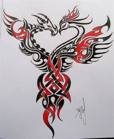 tribal dragon phoenix heart tattoo design real photo