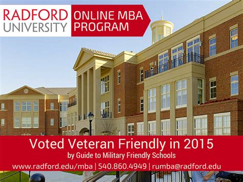 Radford Mba Program by Veteran Active Duty Friendly Launches Mba