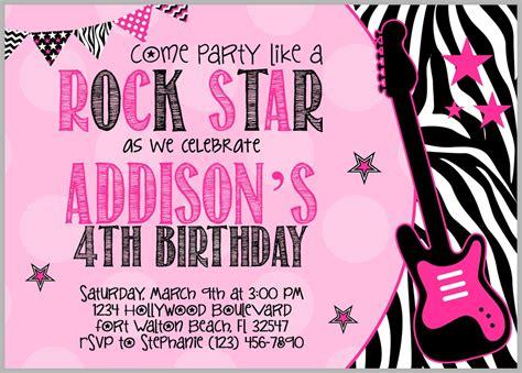 printable invitation rockstar rock star invitation