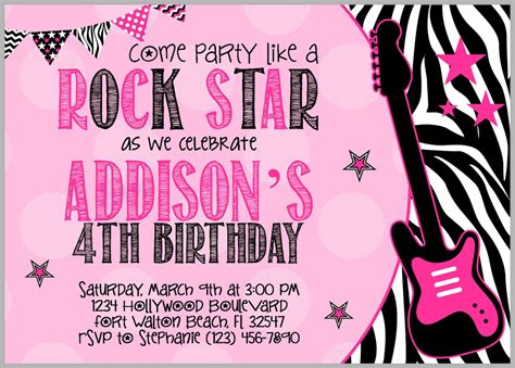 free printable rockstar birthday invitations rock star invitation