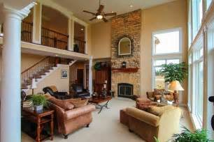 House Design Living Room Upstairs Gorgeous Great Rooms The Two Story Fireplace