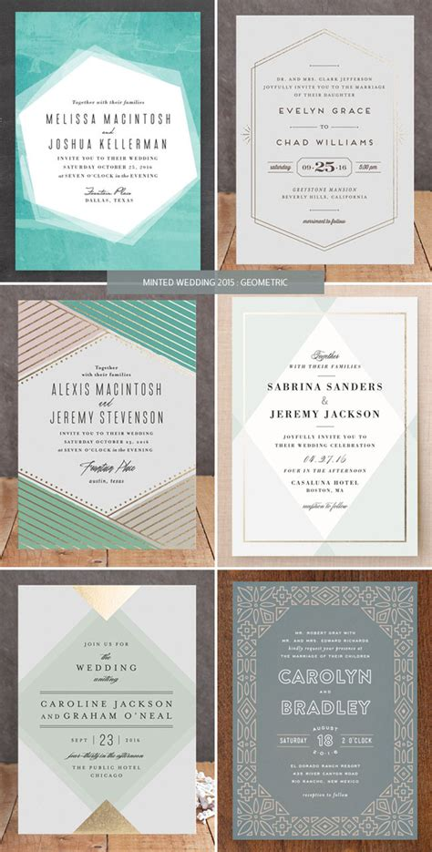 Wedding Invitations Minted by Minted Wedding Invitations 2015 Geometric Invitation Crush