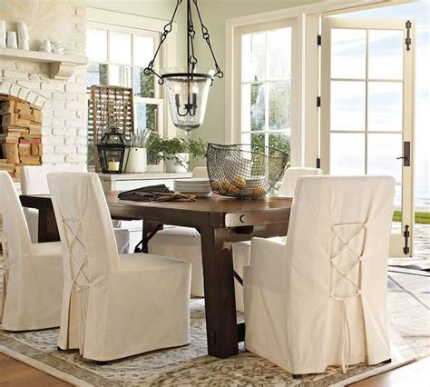 dining table chair slipcovers pb benchwright dark in light room farmhouse dining