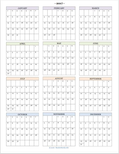 2017 Year At A Glance Printable Calendar